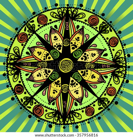 Vector illustration, freehand mandala sketch suitable for print and pattern, card concept. - stock vector