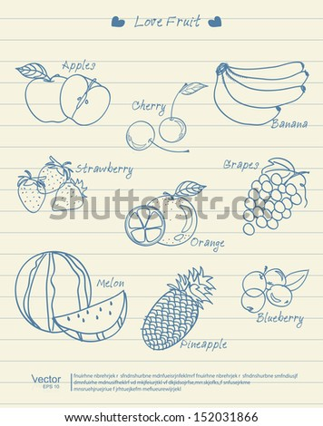 vector illustration Fruit of collection Vintage