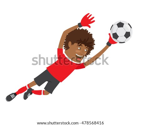 Vector illustration Funny African American soccer football player goalkeeper wearing red t-shirt running jumping for ball and smiling