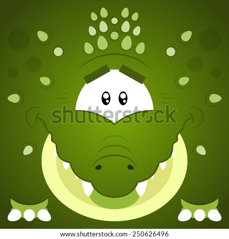 Vector illustration. Funny cartoon green crocodile. Closeup animal in square flat style.