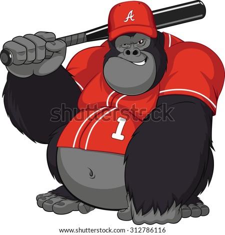 Vector illustration, funny gorilla with a baseball bat - stock vector