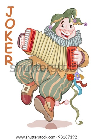Vector illustration, funny joker playing accordion, card concept, white background. - stock vector