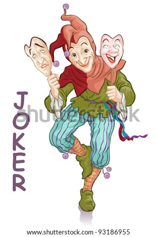 Vector illustration, funny joker with masks, card concept, white background. - stock vector