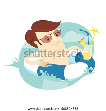 Vector illustration Funny man swimming in the sea with rubber ring and cocktail. Summer vacations at the sea. Flat style