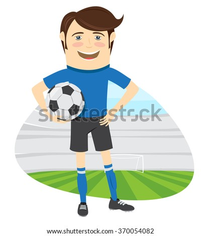 Vector illustration Funny soccer football player wearing blue t-shirt standing holding ball and smiling - stock vector