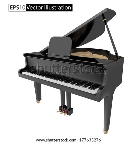 vector illustration gand piano isolated on a White background - stock vector