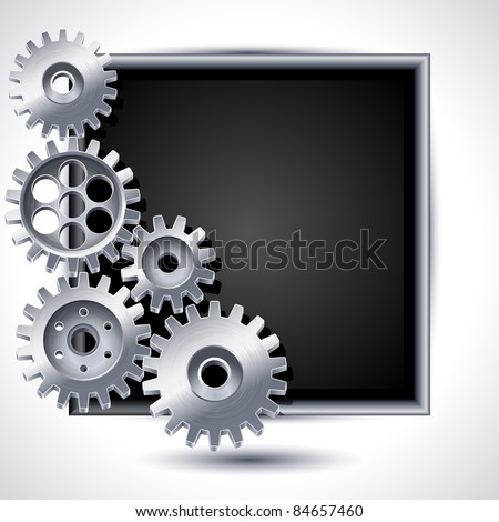 Vector illustration - gears and black chalkboard - stock vector