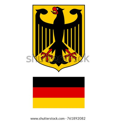 Vector Illustration German Coat Arms Eagle Stock Vector 761892082