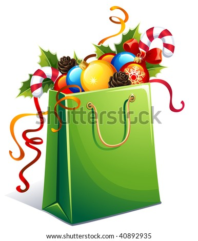 Vector illustration - gift  bag with christmas ornament - stock vector
