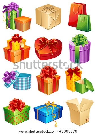 Vector illustration - gift box icon set - stock vector