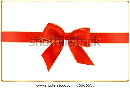 Vector illustration. Gift red bow with ribbons.