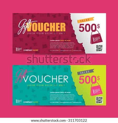 Vector illustration,Gift voucher template with colorful pattern,cute gift voucher certificate coupon design template,Collection gift certificate business card banner calling card poster - stock vector