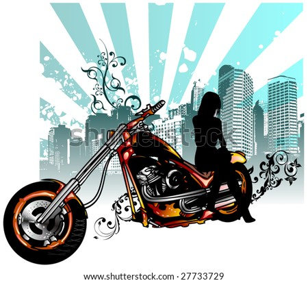 Vector illustration Girl on a motorcycle - stock vector