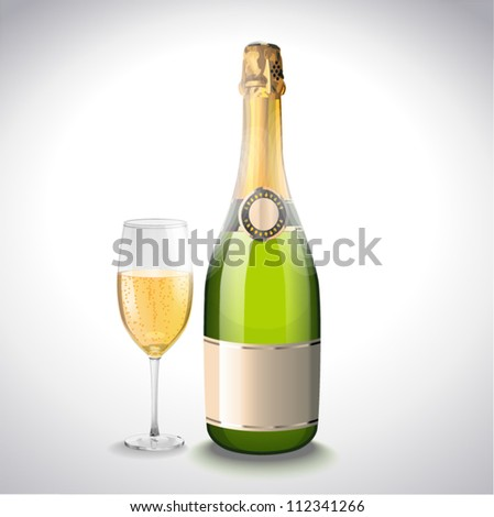 Vector illustration. Glass of champagne and bottle. Vector illustration - stock vector