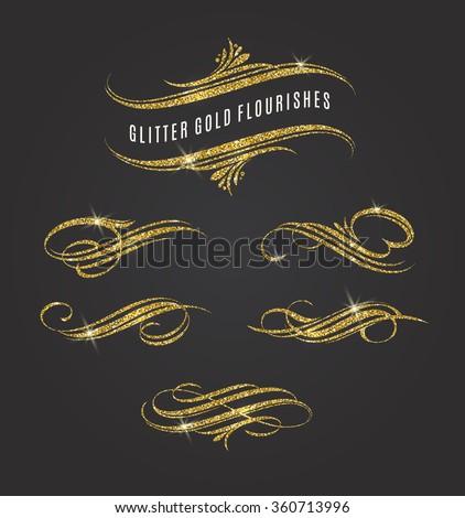 Vector illustration - glitter gold flourishes design elements - stock vector