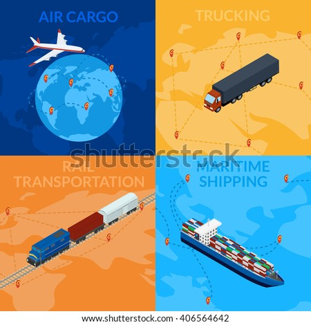Vector illustration. Global supply chain. Logistics. 3D, isometric, infografic. Set icons - cargo train, maritime shipping, truck, cargo plane. - stock vector