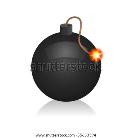 Vector illustration. Glossy bomb icon on white. EPS10 - stock vector