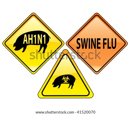 Vector illustration. Glossy pack of warning swine flu ah1n1, h1n1 signs isolated on a white background. - stock vector