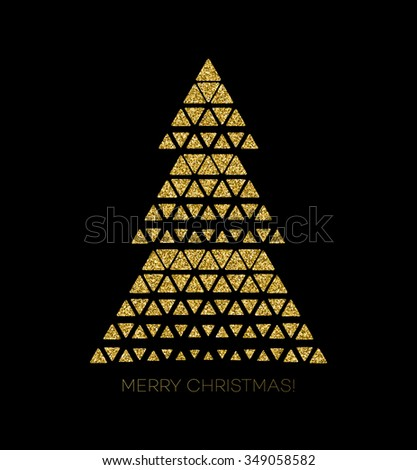 Vector illustration gold Christmas tree.  Holiday background - stock vector
