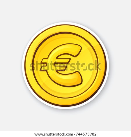 Vector Illustration Gold Coin European Union Stock Vector 744573982