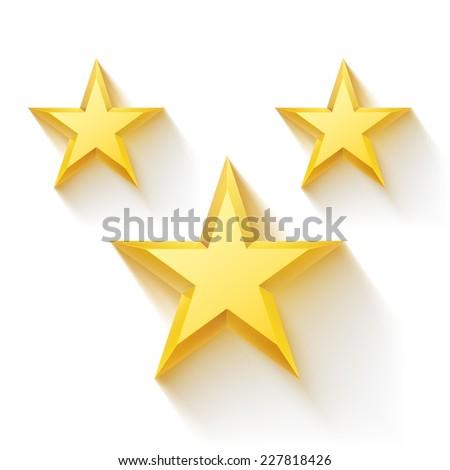 Vector illustration. Golden realistic stars. - stock vector