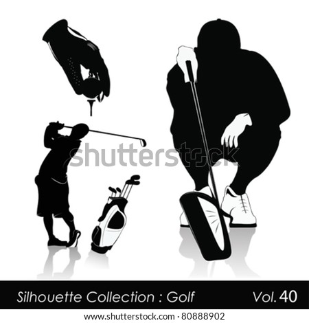 Vector illustration.Golf and golfers - stock vector