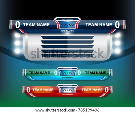 Vector Illustration Graphic of Scoreboard Broadcast and Lower Thirds Template Design for sport soccer and football
