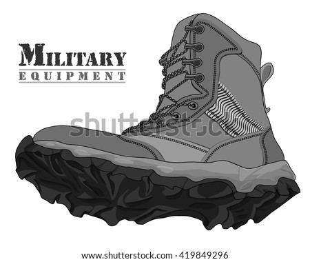 Vector Illustration Gray Army Boot on White Background - stock vector