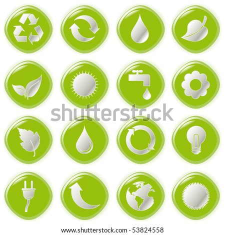 Vector illustration green environmental bubbles on white