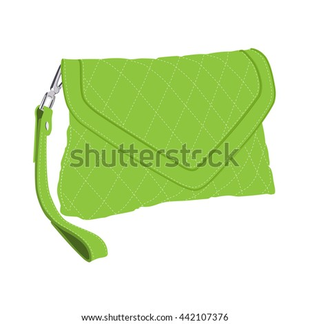 Vector illustration green fashion clutch bag. Clutch purse. Evening bag - stock vector