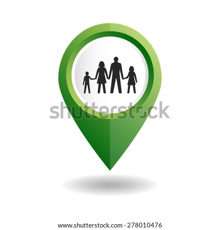 Vector illustration. Green map pointer with a people icon. GPS location symbol. Flat design style. Map pointer with a family. Man, woman, girl, boy. - stock vector