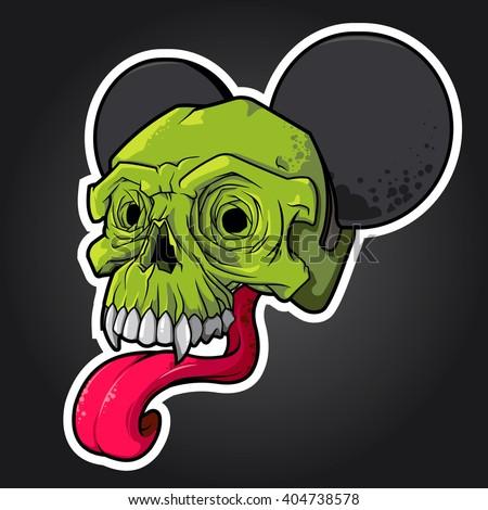 Vector illustration green skull with ears and a long tongue skull vector skull