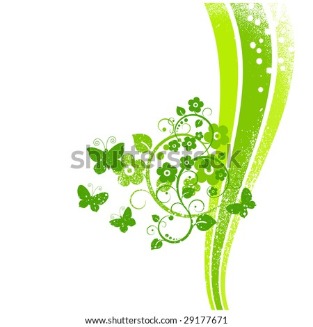 Vector illustration. Green spring background. - stock vector