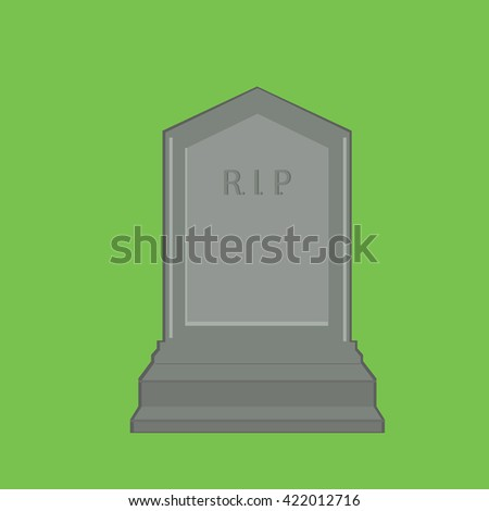 Vector illustration grey gravestone with text R.I.P. isolated on green background. Flat tombstone icon. rip - stock vector