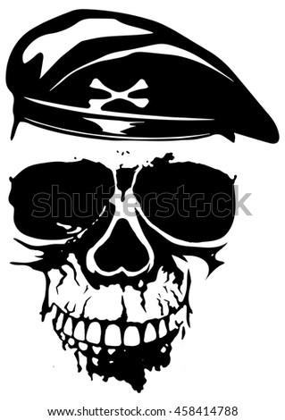 Vector Illustration Grunge Soldier Skull Beret Stock