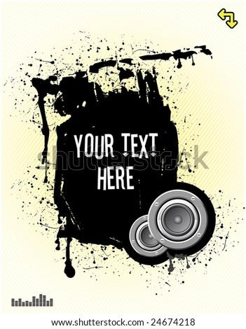 vector illustration - grunge text frame on grunge audio background - stock vector
