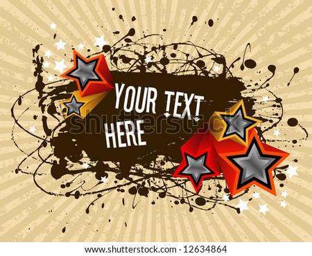 vector illustration - grunge text frame on grunge star background - stock vector