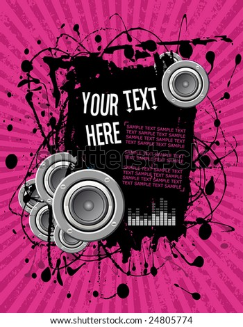 vector illustration - grunge text frame on pink audio background - stock vector
