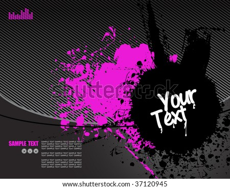 vector illustration - grunge text frames on grunge audio background with plenty of room for text - stock vector