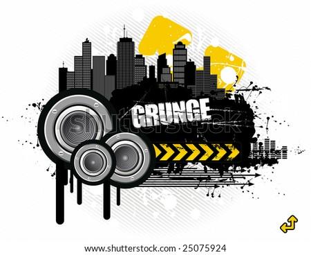 vector illustration - grungy urban audioscape - stock vector