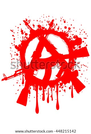 Vector illustration gun machines and red symbol anarchy for design tattoo or t-shirt - stock vector