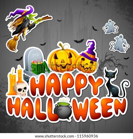 vector illustration Halloween Greeting - stock vector