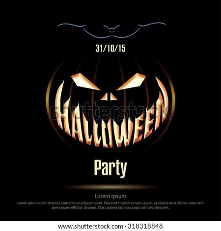 Vector Illustration Halloween Poster On Black Stock Vector ...