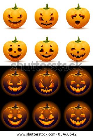 Vector illustration - Halloween pumpkins icon set - stock vector