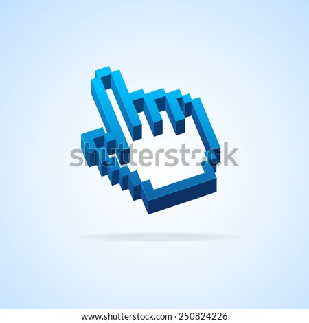 Vector illustration. Hand arrow pixel cursor isolated - stock vector