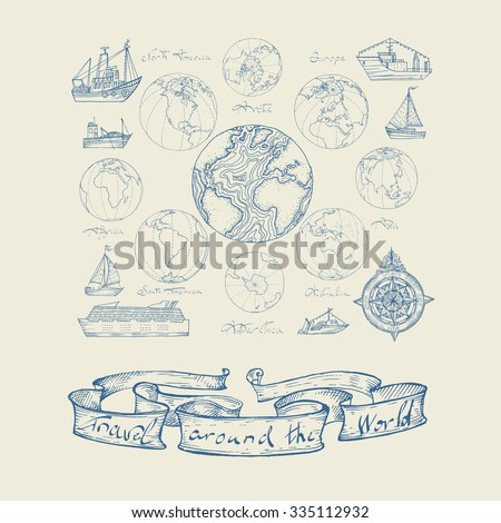 Vector illustration. Hand drawing continents: Australia, North America, South America, the Arctic, Antarctica, Africa, Europe, Asia. Blue on a light background. - stock vector