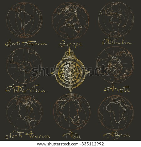 Vector illustration. Hand drawing continents: Australia, North America, South America, the Arctic, Antarctica, Africa, Europe, Asia.Gold on a black background. - stock vector