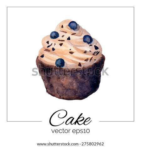 Vector illustration. Hand drawn cake with watercolor texture. Cake with cream, chocolate chips, blueberries, biscuit. Hand painted sweet cake on white background. Eps10.  - stock vector