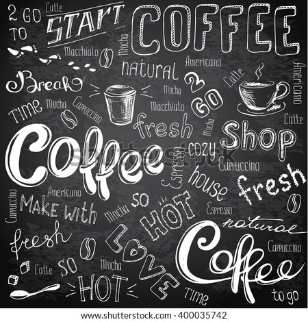 Vector illustration hand drawn coffee to go, cups, mugs, beans and lettering types . Black and white - stock vector