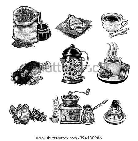 Vector illustration Hand drawn sketch vintage coffee set.  Design elements  for menu cafe and restaurant - stock vector